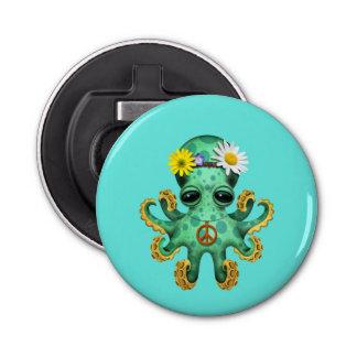 Cute Green Baby Octopus Hippie Bottle Opener