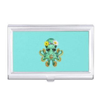 Cute Green Baby Octopus Hippie Business Card Holder