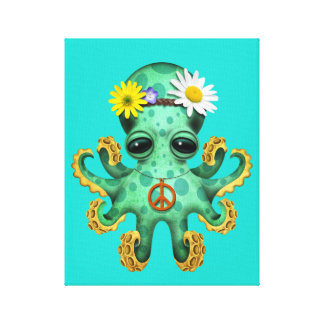 Cute Green Baby Octopus Hippie Canvas Print
