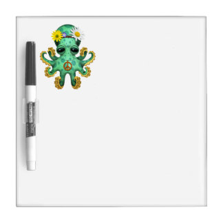 Cute Green Baby Octopus Hippie Dry Erase Board