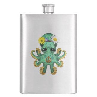 Cute Green Baby Octopus Hippie Hip Flask