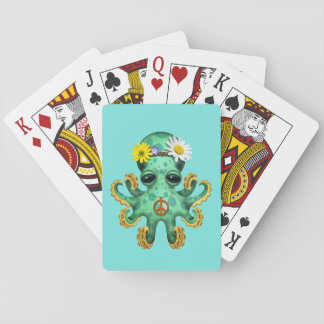 Cute Green Baby Octopus Hippie Playing Cards