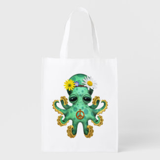 Cute Green Baby Octopus Hippie Reusable Grocery Bag