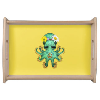 Cute Green Baby Octopus Hippie Serving Tray