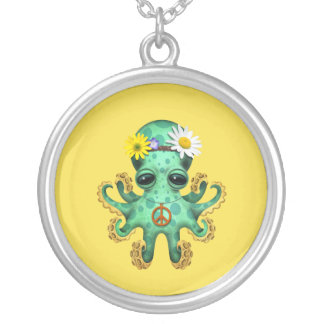 Cute Green Baby Octopus Hippie Silver Plated Necklace