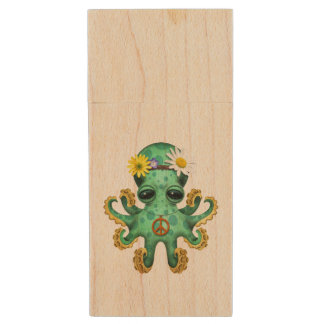 Cute Green Baby Octopus Hippie Wood USB Flash Drive