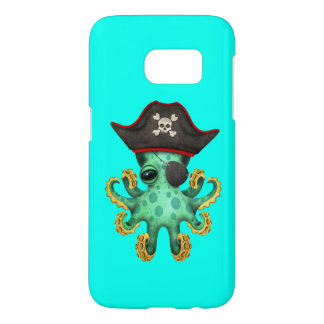 Cute Green Baby Octopus Pirate