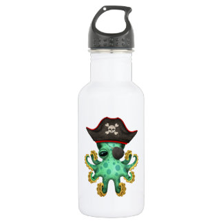 Cute Green Baby Octopus Pirate 532 Ml Water Bottle