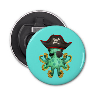 Cute Green Baby Octopus Pirate Bottle Opener