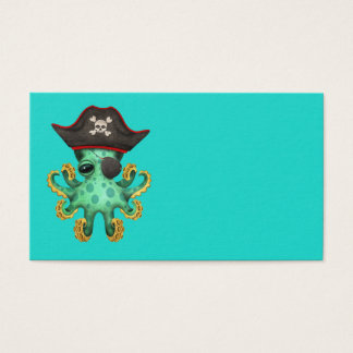Cute Green Baby Octopus Pirate Business Card