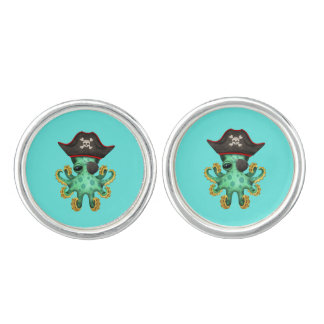 Cute Green Baby Octopus Pirate Cuff Links
