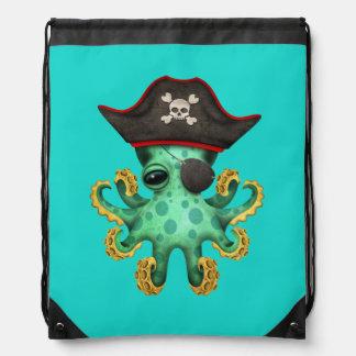 Cute Green Baby Octopus Pirate Drawstring Bag