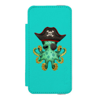 Cute Green Baby Octopus Pirate Incipio Watson™ iPhone 5 Wallet Case
