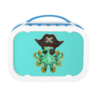 Cute Green Baby Octopus Pirate Lunch Box