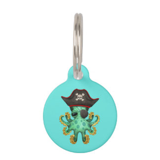 Cute Green Baby Octopus Pirate Pet ID Tag