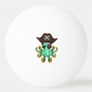 Cute Green Baby Octopus Pirate Ping Pong Ball