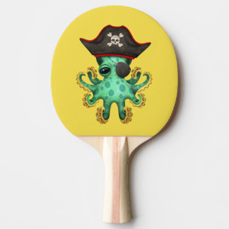 Cute Green Baby Octopus Pirate Ping Pong Paddle