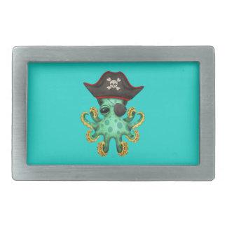 Cute Green Baby Octopus Pirate Rectangular Belt Buckle