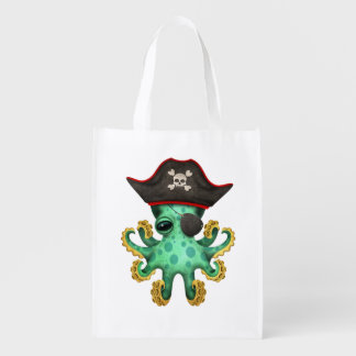 Cute Green Baby Octopus Pirate Reusable Grocery Bag