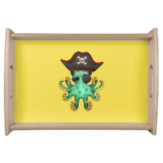 Cute Green Baby Octopus Pirate Serving Tray