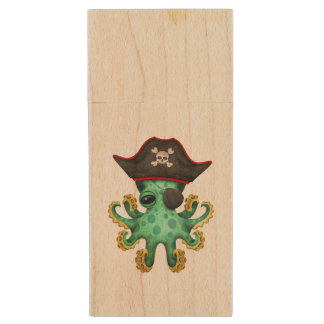 Cute Green Baby Octopus Pirate Wood USB Flash Drive