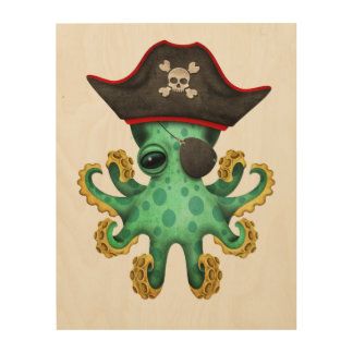 Cute Green Baby Octopus Pirate Wood Wall Art