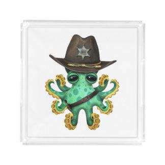 Cute Green Baby Octopus Sheriff Acrylic Tray