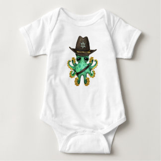 Cute Green Baby Octopus Sheriff Baby Bodysuit
