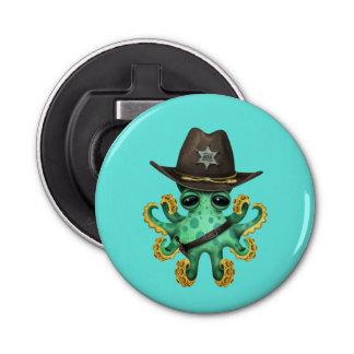 Cute Green Baby Octopus Sheriff Bottle Opener