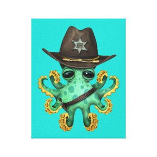 Cute Green Baby Octopus Sheriff Canvas Print