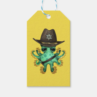 Cute Green Baby Octopus Sheriff Gift Tags