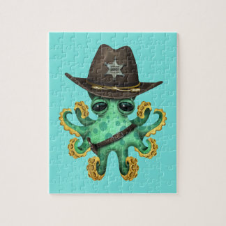 Cute Green Baby Octopus Sheriff Jigsaw Puzzle