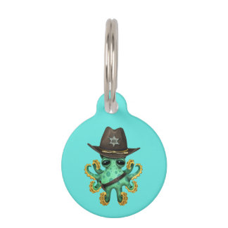 Cute Green Baby Octopus Sheriff Pet ID Tag