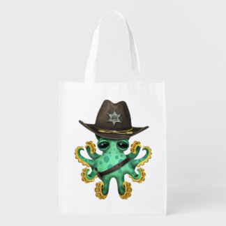 Cute Green Baby Octopus Sheriff Reusable Grocery Bag
