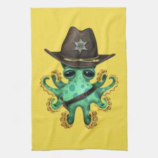 Cute Green Baby Octopus Sheriff Tea Towel