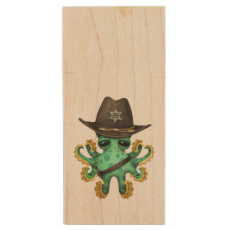 Cute Green Baby Octopus Sheriff Wood USB Flash Drive