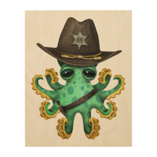 Cute Green Baby Octopus Sheriff Wood Wall Decor