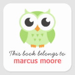 Cute green baby owl animal cartoon bookplate book square stickers