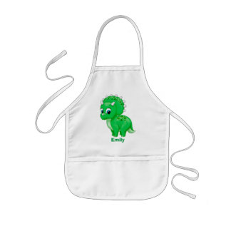Cute Green Baby Triceratops Dinosaur Kids Apron