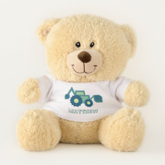 Cute green backhoe illustration for toddlers teddy bear