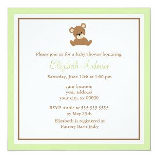 Cute Green Bear Baby Shower 13 Cm X 13 Cm Square Invitation Card