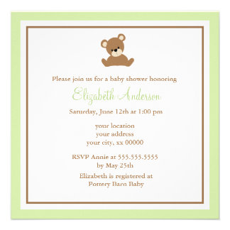 Cute Green Bear Baby Shower Invites