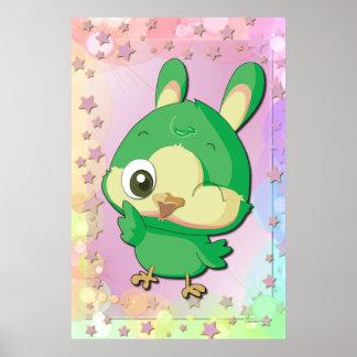 Cute Green Bird Funny Cartoon Character Poster