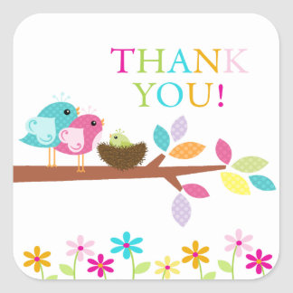 Cute Green Bird Nest Thank You Baby Shower Square Square Sticker
