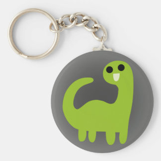 Cute Green Brontosaurus on Grey Keychains