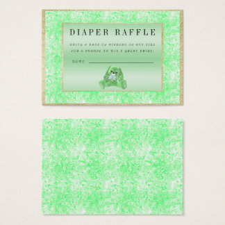 "Cute Green Bunny ""Raffle"" Baby Shower Business Card"