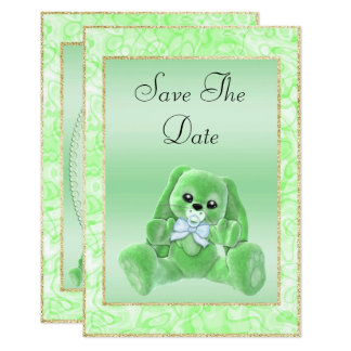 Cute Green Bunny Save The Date Baby Shower Card