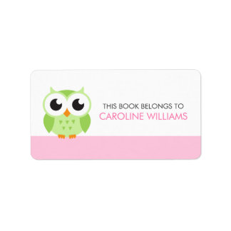 Cute green cartoon baby owl bookplate book label address label
