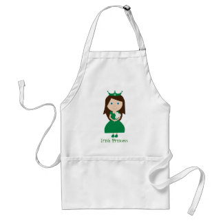 Cute Green Cartoon Character Irish Princess Adult Apron