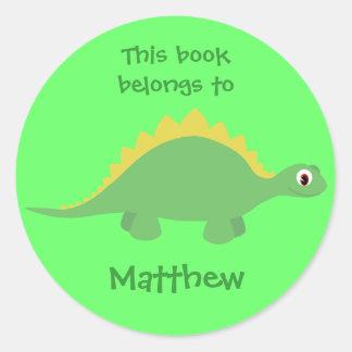Cute Green Cartoon Dinosaur Stickers